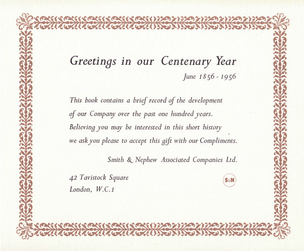 Smith & Nephew 100yrs greetings