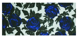 Cresta Silks printed fabric - blue roses