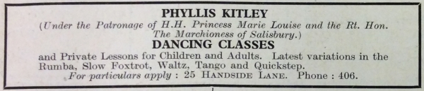 Welwyn Times 18 Oct 1934 advert for Phyllis Kitley's dance lessons