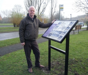 Malcolm Cowan with the Peartree interpretation board
