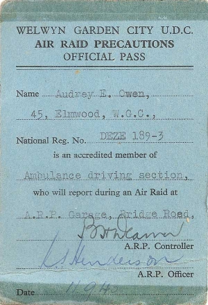 ARP official pass for an ambulance driver